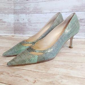 Jimmy Choo aqua snakeskin embossed heels